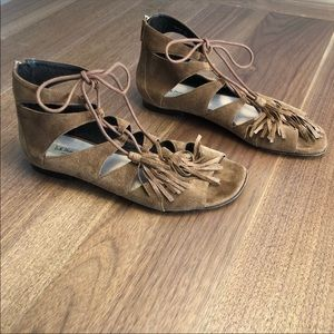 LK Bennett brown lace up gladiator sandals